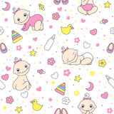 Seamless pattern for baby girls. Stock Images