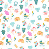 Seamless pattern of baby goods icons. Children flat icons. Stock Image