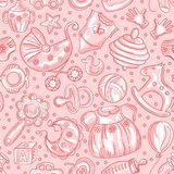 Seamless pattern baby icons for girls Stock Photo