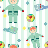 Seamless pattern with baby items retro design background Stock Image