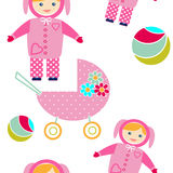 Seamless pattern with baby items retro design Royalty Free Stock Photos
