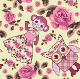 Seamless pattern baby monkey, owls and roses. Royalty Free Stock Image