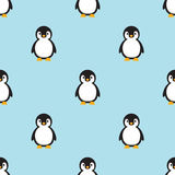 Seamless pattern Baby Penguin standing on sky blue background. Stock Photos