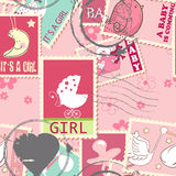 Seamless pattern with baby postage stamps stock illustration