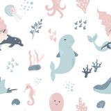 Seamless pattern baby print with cute dolphins royalty free illustration