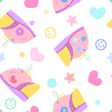 Seamless pattern baby shoes Royalty Free Stock Photo