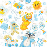 Seamless pattern of baby stuff its a boy Stock Images