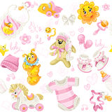 Seamless pattern of baby stuff its a girl Royalty Free Stock Photos