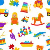 Seamless patterns with baby toys. Vector illustration. stock illustration