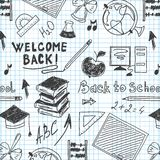 Seamless pattern back to school in a notebook Royalty Free Stock Photography