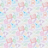 Seamless pattern Back to school on the notebook Stock Photography