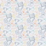 Seamless pattern Back to school on the notebook Royalty Free Stock Images