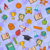 Seamless pattern Back to school on purple Royalty Free Stock Photography