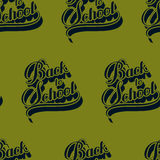 seamless pattern with  Back To School retro labels Stock Photos