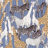 Seamless pattern, background with adult zebra and giraffe and zebra and giraffe cubs. Vector illustration. royalty free illustration