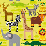 Seamless pattern background with African animals.  Stock Photo