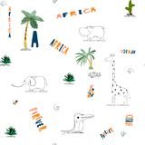 Seamless pattern background with African funny childish animals. vector illustration