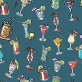 Seamless pattern background with alcohol cocktail drinks of martini, margarita, tequila or vodka. Alcohol coctail with. Cherry, lime, mint and cubes of ice vector illustration