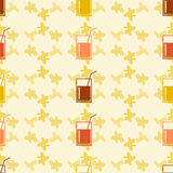 Seamless pattern background alcoholic beverages. Alcohol vector. Drink in a glass with a straw Stock Photo