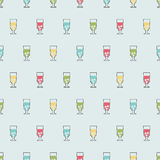 Seamless pattern background alcoholic beverages. Alcohol vector. Glasses with colorful drinks Royalty Free Stock Photos