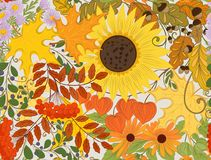 Seamless pattern, background with autumn flowers, leaves Royalty Free Stock Images