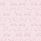 Seamless pattern background baby carriage for doughter. Baby girl wallpaper. Pink textile. Buggy vector. Royalty Free Stock Photos