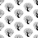 Seamless pattern background, black and white tree Royalty Free Stock Image
