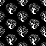 Seamless pattern background, black and white tree Stock Images