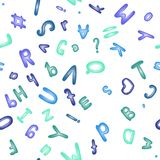 Seamless pattern with blue alphabet. Cute ABC. Stock Images