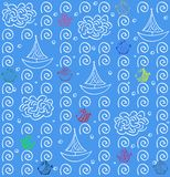 Seamless pattern  background. blue. fish and ship Stock Image