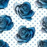 Seamless pattern, background with blue gradient roses, on polka dots background stock illustration