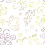 Seamless pattern background with butterflies and flowers. Seamless pattern background abstract curlicues. Stock Photography