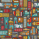 Seamless pattern background of cartoon city Stock Photography