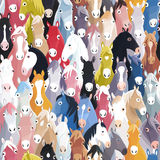 Seamless pattern background with cartoon horses Stock Photo