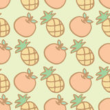 Seamless pattern background of cartoon pineapple and orange Royalty Free Stock Photos