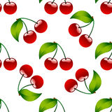 Seamless pattern background cherry red ripe berrie Stock Photos