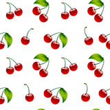 Seamless pattern background cherry red ripe berrie Stock Images