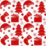 Seamless pattern, background with christmas elements. Seamless pattern with Christmas elements. Christmas tree, gifts, socks, snowflakes, stars, Santa hats on a Stock Photography