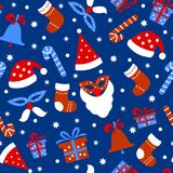 Seamless pattern background with Christmas items on a blue background. vector illustration