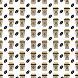 Seamless Pattern Background - Coffee To Go Cup - Vector Illustration Royalty Free Illustration