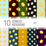 10 seamless pattern background. Coins. Royalty Free Stock Photography