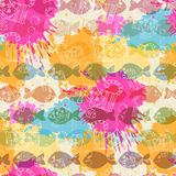 Seamless pattern on the background of colorful blo Stock Images
