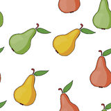 Seamless pattern background colorful pears. Stock Photo