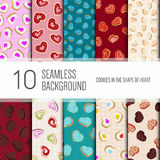 10 seamless pattern background. Cookies in the shape of heart stock illustration