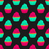 Seamless pattern background with cupcakes Stock Images