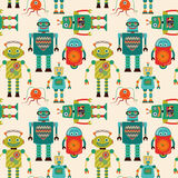 Seamless Pattern Background with Cute Retro Robots stock illustration