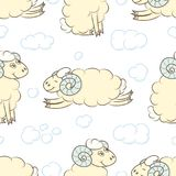 Seamless pattern background with cute sheep. Vector illustration. Design for wrapping paper Stock Photo