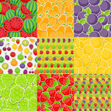 Seamless Pattern Background from Different Fruits Stock Photography