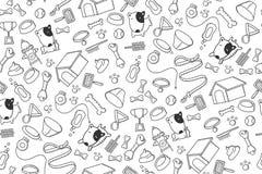 Seamless pattern background Dog and equipment kids hand drawing set illustration. Black color isolated on white background vector illustration