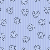 Seamless pattern background dog. Textile for baby. Sleeping vector pets. Stock Photos